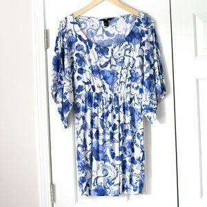 H&M blue white dress swim coverup